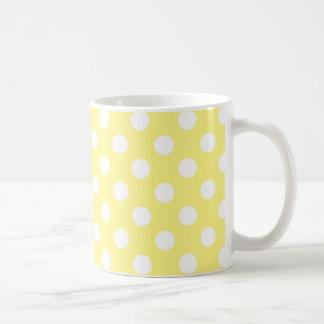 White polka dots on lemon yellow coffee mug