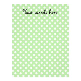 White polka dots on light green background full color flyer