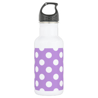 White polka dots on lilac 532 ml water bottle