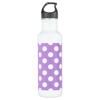 White polka dots on lilac 710 ml water bottle
