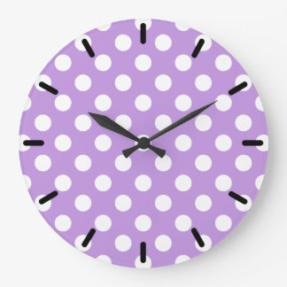 White polka dots on lilac large clock