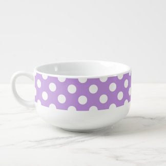 White polka dots on lilac soup bowl with handle