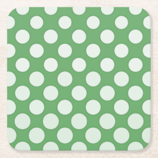 White polka dots on lime green square paper coaster