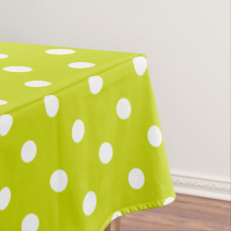 White Polka Dots on Lime Green Tablecloth