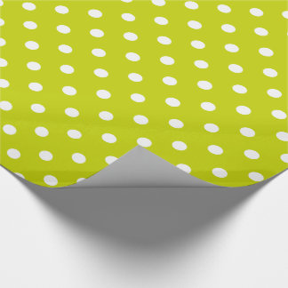 White Polka Dots on Lime Green Wrapping Paper