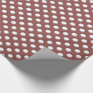 White Polka Dots on Marsala Wrapping Paper