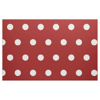 White Polka Dots on Nautical Red Fabric