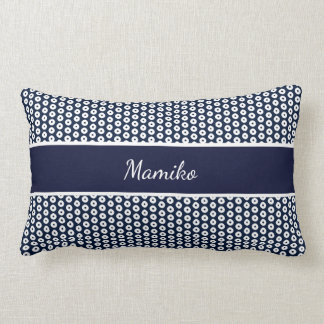 White Polka Dots On Navy Blue And Name Lumbar Pillow
