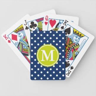 White Polka Dots on Navy With Lime Monogram Bicycle Playing Cards