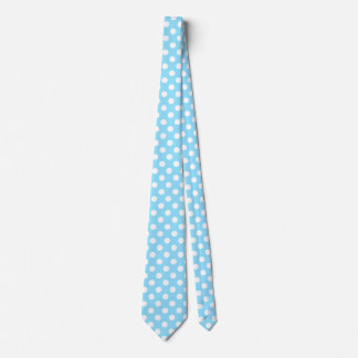 White polka dots on pale blue tie