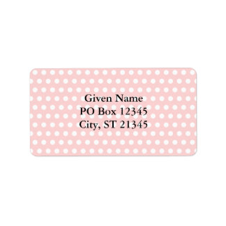 White Polka Dots on Pale Pink Address Label