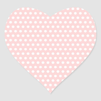 White Polka Dots on Pale Pink Heart Sticker