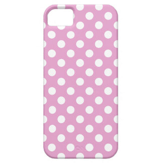 White polka dots on pale pink iPhone 5 cover