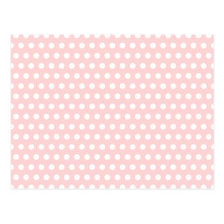 White Polka Dots on Pale Pink Postcard