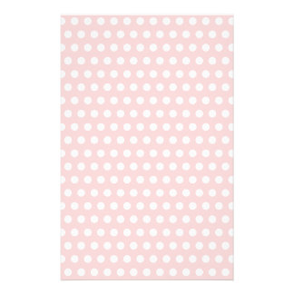 White Polka Dots on Pale Pink Stationery