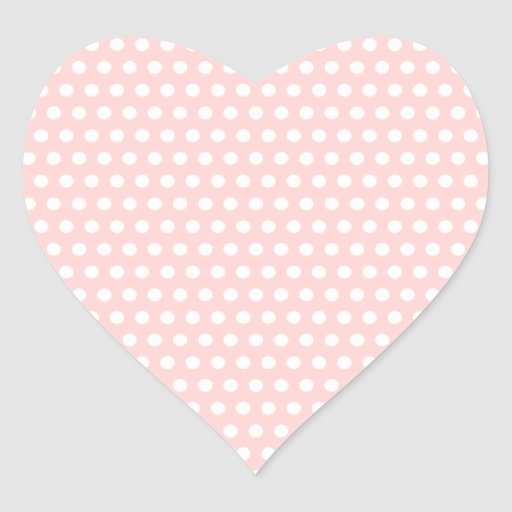 White Polka Dots on Pale Pink Heart Stickers