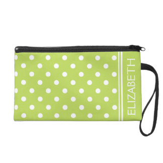 White Polka Dots on Palm Leaf Green Personalized Wristlet Clutches