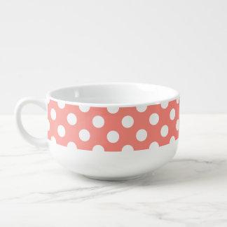 White polka dots on peach soup mug