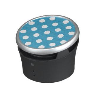 White Polka Dots on Peacock Blue Background Bluetooth Speaker