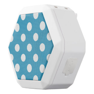 White Polka Dots on Peacock Blue Background White Boombot Rex Bluetooth Speaker