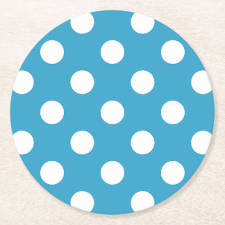 White Polka Dots on Peacock Blue Background Round Paper Coaster