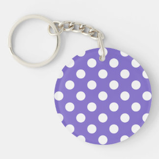 White polka dots on periwinkle Double-Sided round acrylic key ring