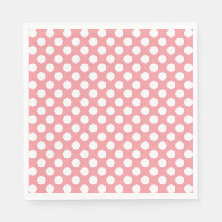 White polka dots on pink background disposable napkin