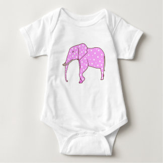 White Polka Dots on Pink Elephant Baby BodySuits