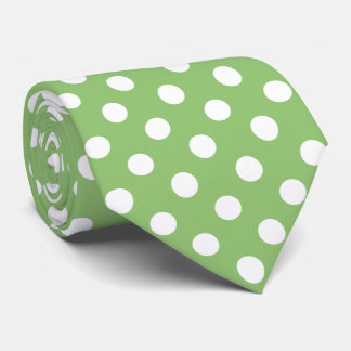 White Polka Dots on Pistachio Green Tie