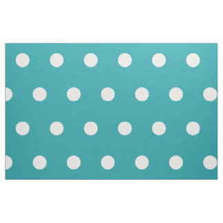 White Polka Dots on Pure Turquoise Fabric