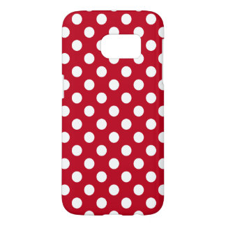 White polka dots on red