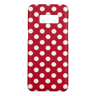 White polka dots on red Case-Mate samsung galaxy s8 case