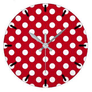 White polka dots on red clocks
