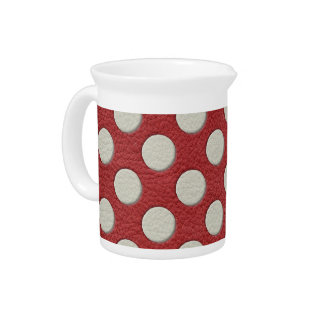 White Polka Dots on Red Leather print Pitcher