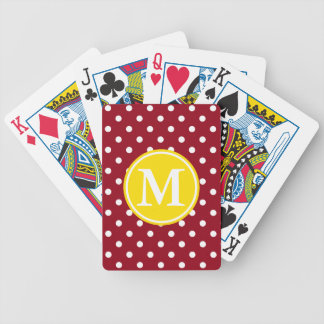 White Polka Dots on Red With Yellow Monogram Poker Deck