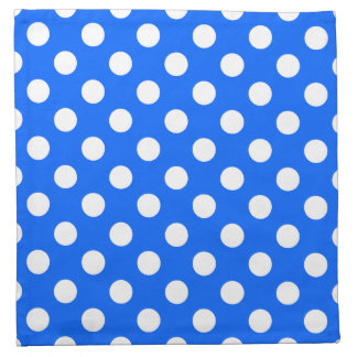 White polka dots on royal blue printed napkin