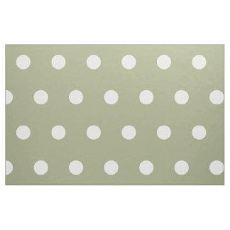 White Polka Dots on Sage Green Fabric