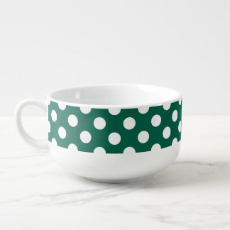 White polka dots on sage green soup mug