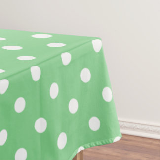 White Polka Dots on Sea Green Tablecloth