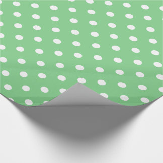 White Polka Dots on Sea Green Wrapping Paper