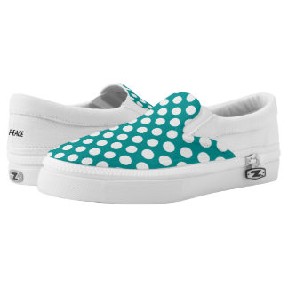 White Polka Dots on Teal Slip On Canvas Shoes