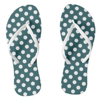 White polka dots on teal thongs