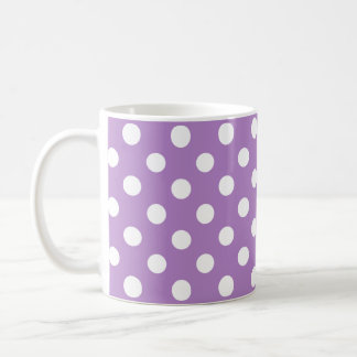 White Polka Dots on Thistle Purple Basic White Mug