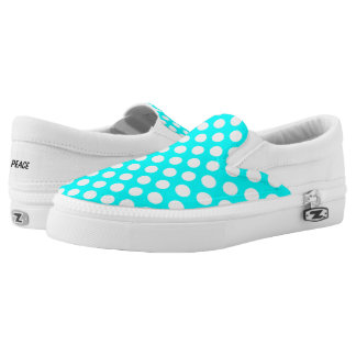 White Polka Dots on Turquoise Slip On Canvas Shoes