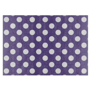 White polka dots on ultra violet cutting board