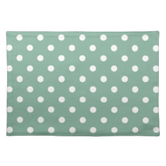 White Polka Dots on Vintage Baby Blue Placemat