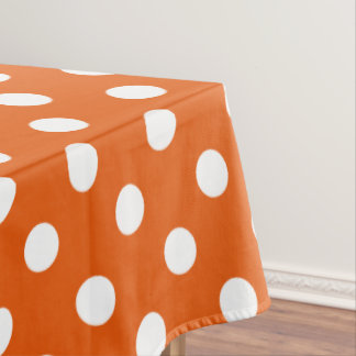 White Polka Dots on Wild Tangerine Tablecloth