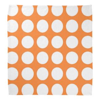 White Polka Dots Orange Bandana