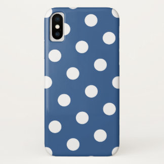 White Polka Dots Pattern & Cobalt Blue iPhone X Case