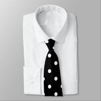 White Polka Dots Pattern on Black Neck Tie